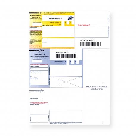 Recommandés A4 sans Accusé Réception et avec Code à Barres
