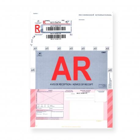 Recommandés A4 Internationaux avec Accusé Réception et avec Code à Barres