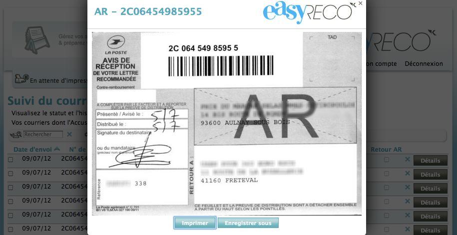 easyReco : Service de numérisation de vos accusés-réception