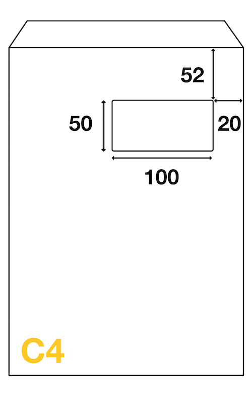 Dimensions de fenêtre de l'enveloppe C4 324x229