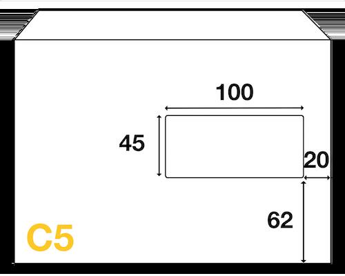 Dimensions de fenêtre de l'enveloppe C5 162x229