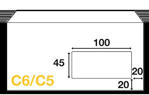 Dimensions de fenêtre de l'enveloppe mécanisable C6/C5 114x229