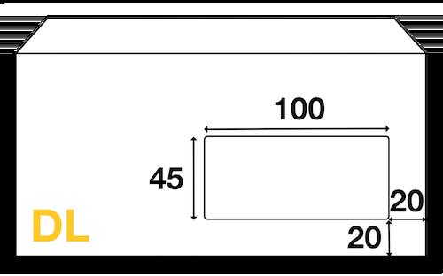 Dimensions de fenêtre de l'enveloppe auto-adhésive DL 110x220