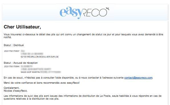 easyReco : notification de suivi de vos plis