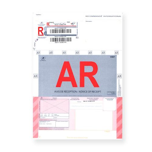 Recommandé A4 international avec accusé réception avec code-barres