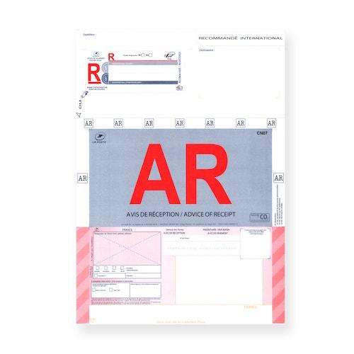 Recommandé A4 international avec accusé réception sans code-barres