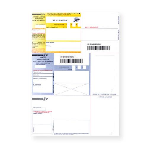 Recommandé A4 sans accusé réception avec code-barres